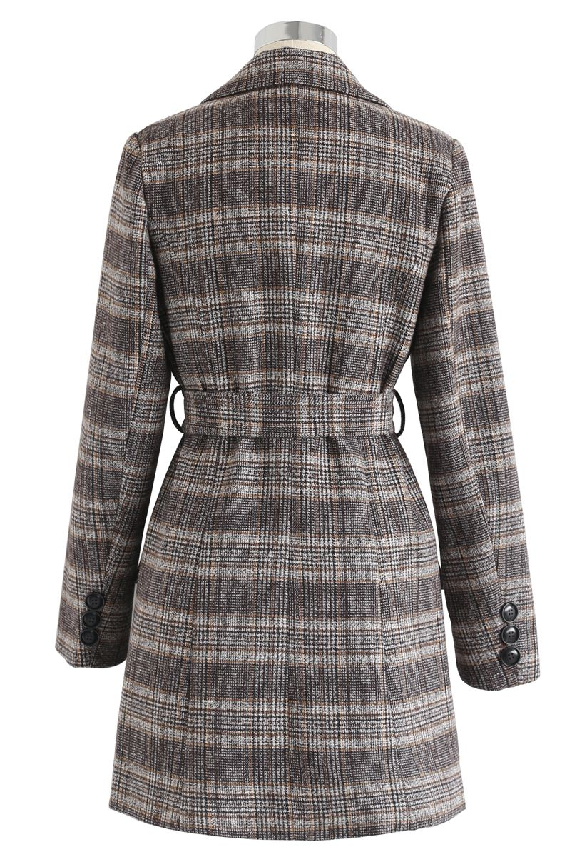 Plaid Double-Breasted Wool-Blend Coat in Brown