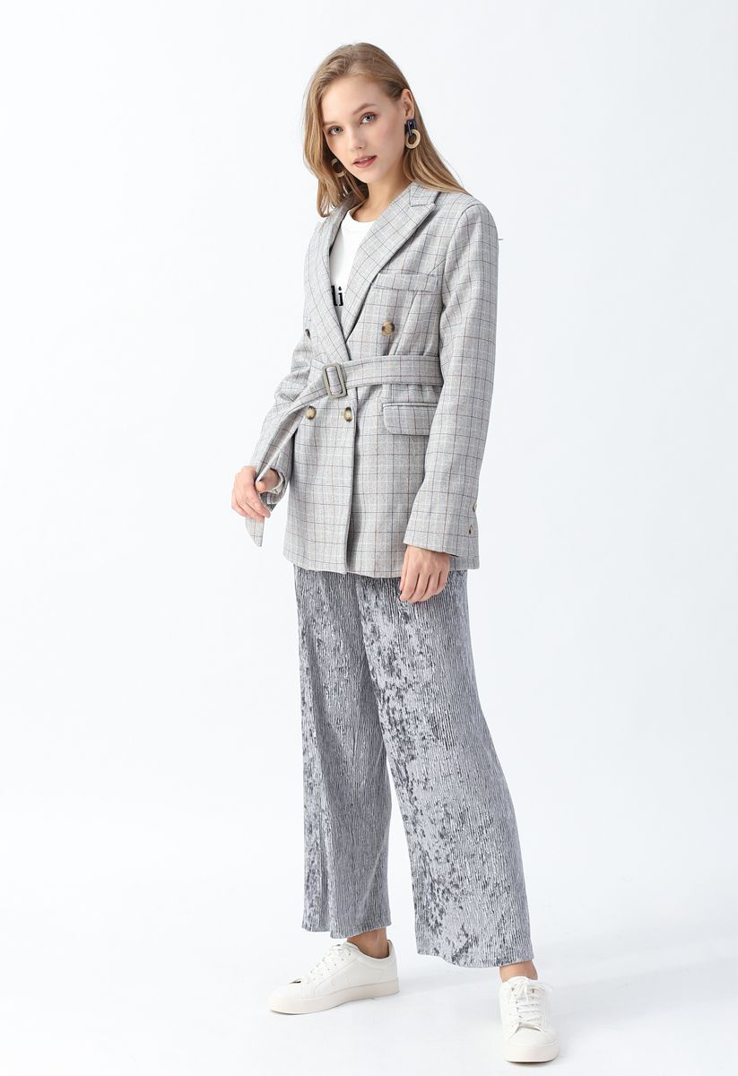 Plaid Belted Double-Breasted Blazer