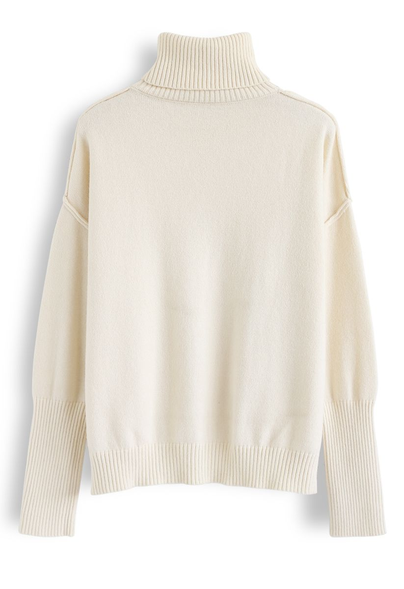 Soft Touch Basic Cowl Neck Knit Sweater in Cream