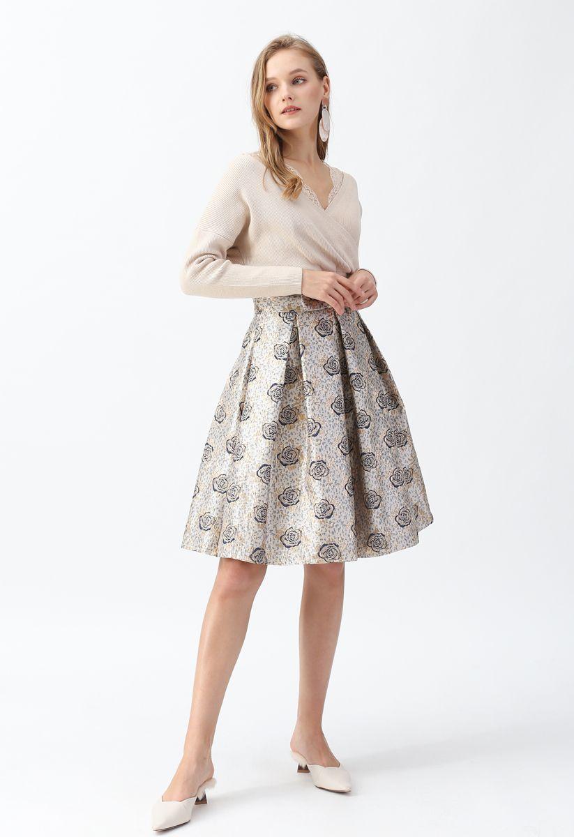 Golden Rose Bowknot Jacquard Pleated Skirt