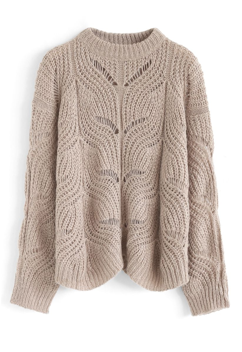 Hollow Out Loose Knit Sweater in Taupe