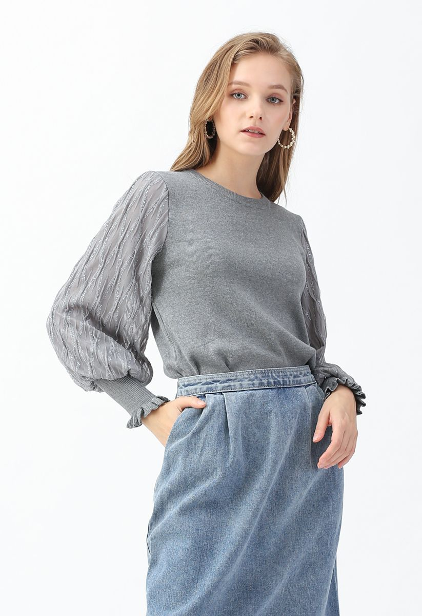 Shiny Lines Puff Sleeves Knit Top in Grey