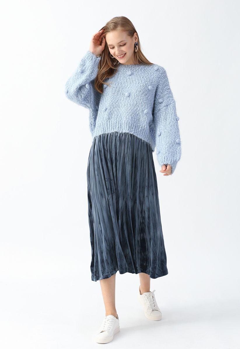 Pom-Pom Decorated Fuzzy Knit Crop Sweater in Blue