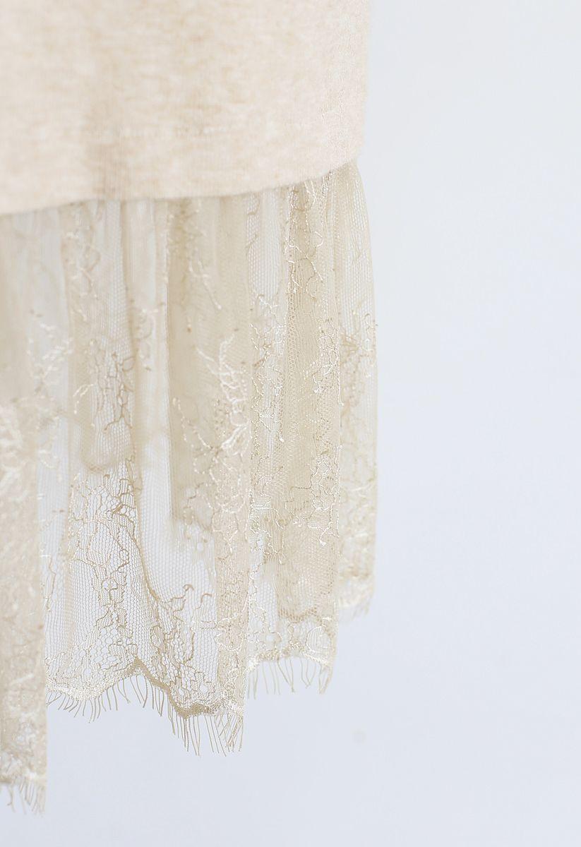 Turtleneck Lacy Knit Dress in Light Tan