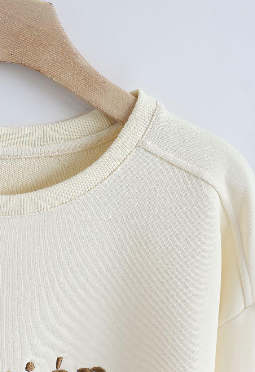 Edition Embroidered Sweatshirt in Cream