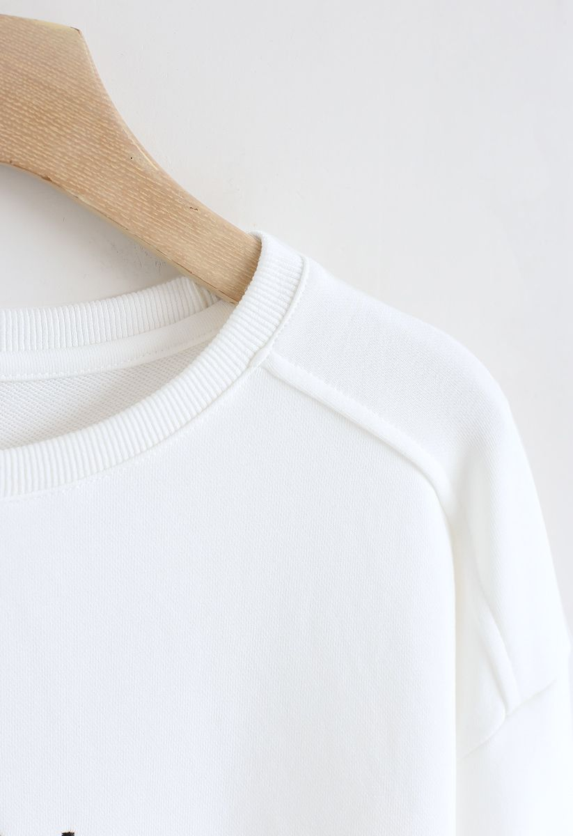 Edition Embroidered Sweatshirt in White