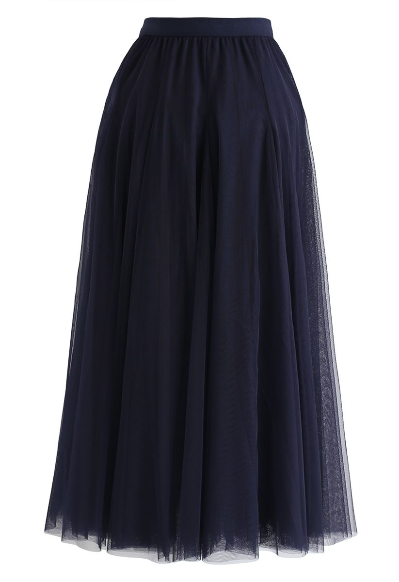 My Secret Weapon Tulle Maxi Skirt in Navy