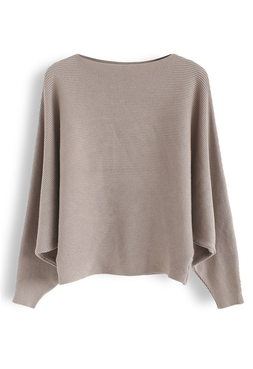 Boat Neck Batwing Sleeves Crop Knit Top in Taupe
