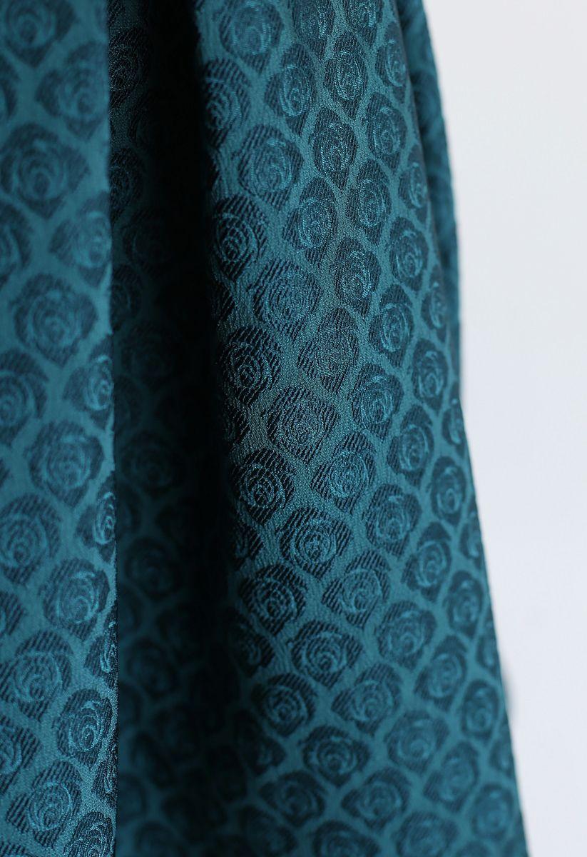 Turquoise Rose Jacquard Pleated Midi Skirt