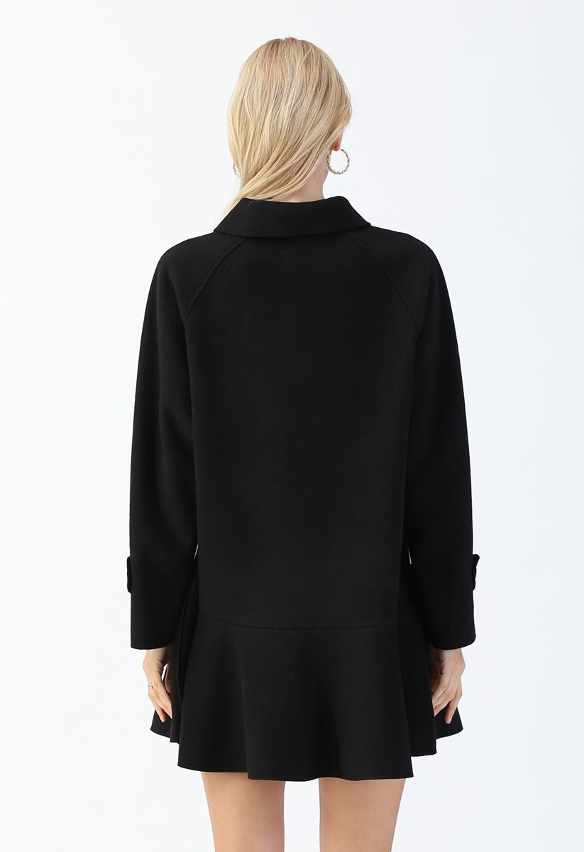 Button Down Pockets Flare Coat Dress in Black