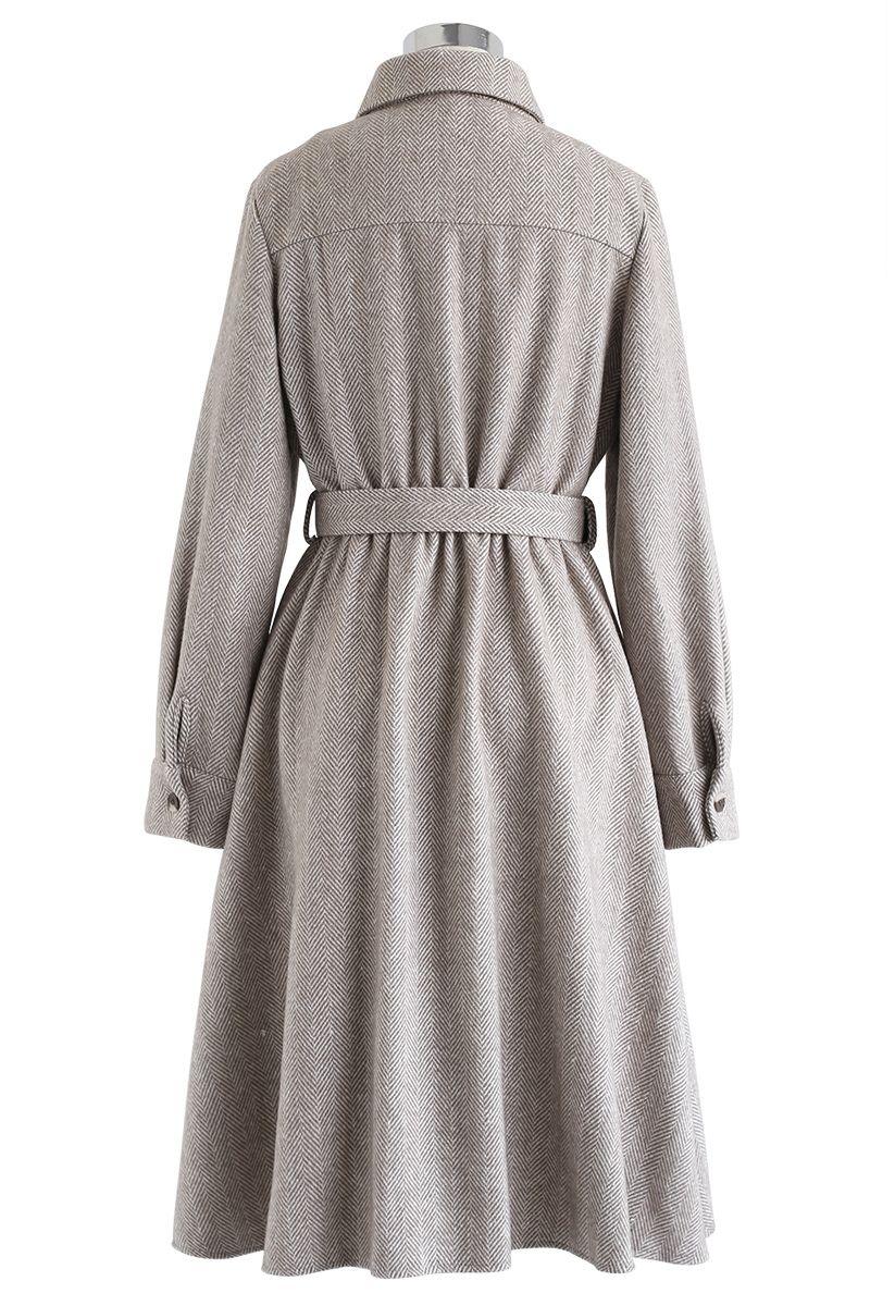 Herringbone Button Down Belted Coat Dress in Sand