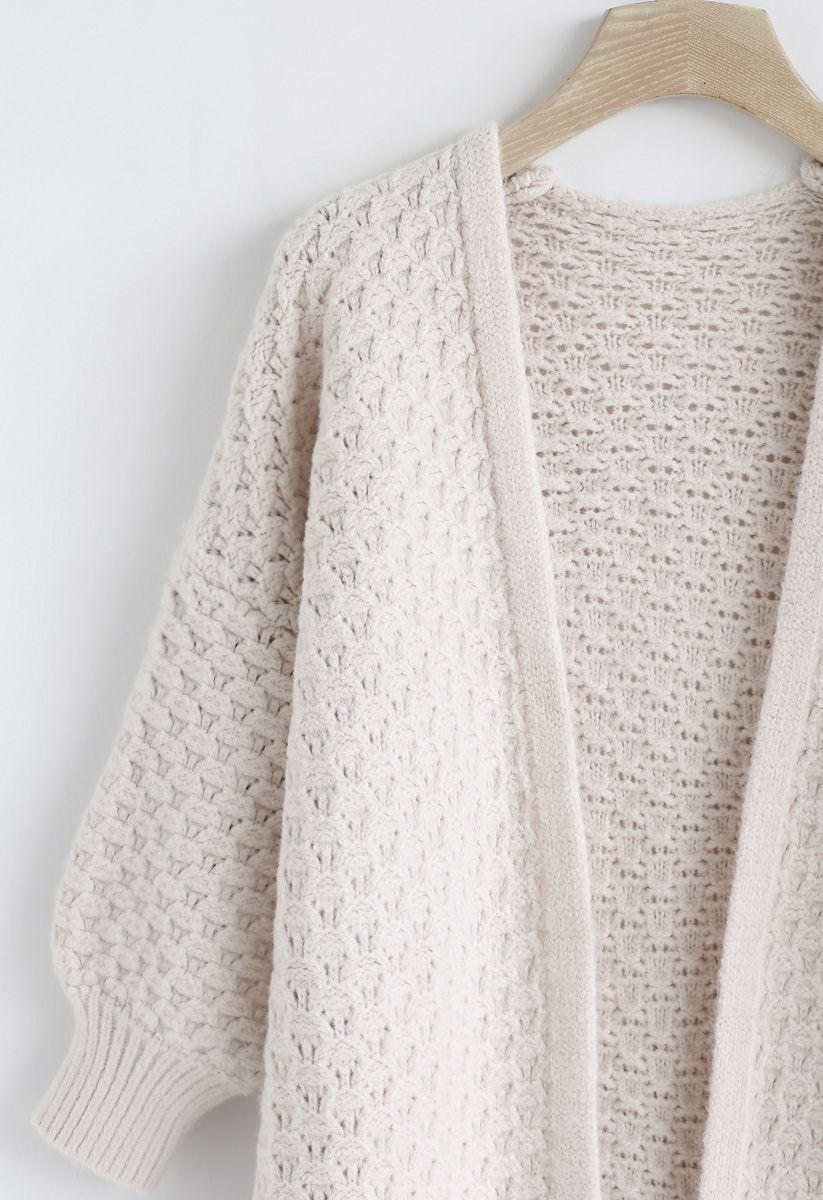 Split Hem Puff Sleeves Longline Knit Cardigan in Cream