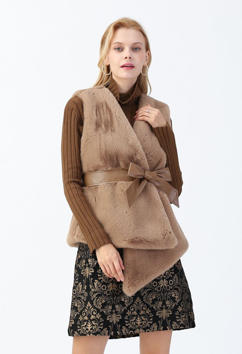Asymmetric Faux Fur Vest with PU Leather Belt in Caramel