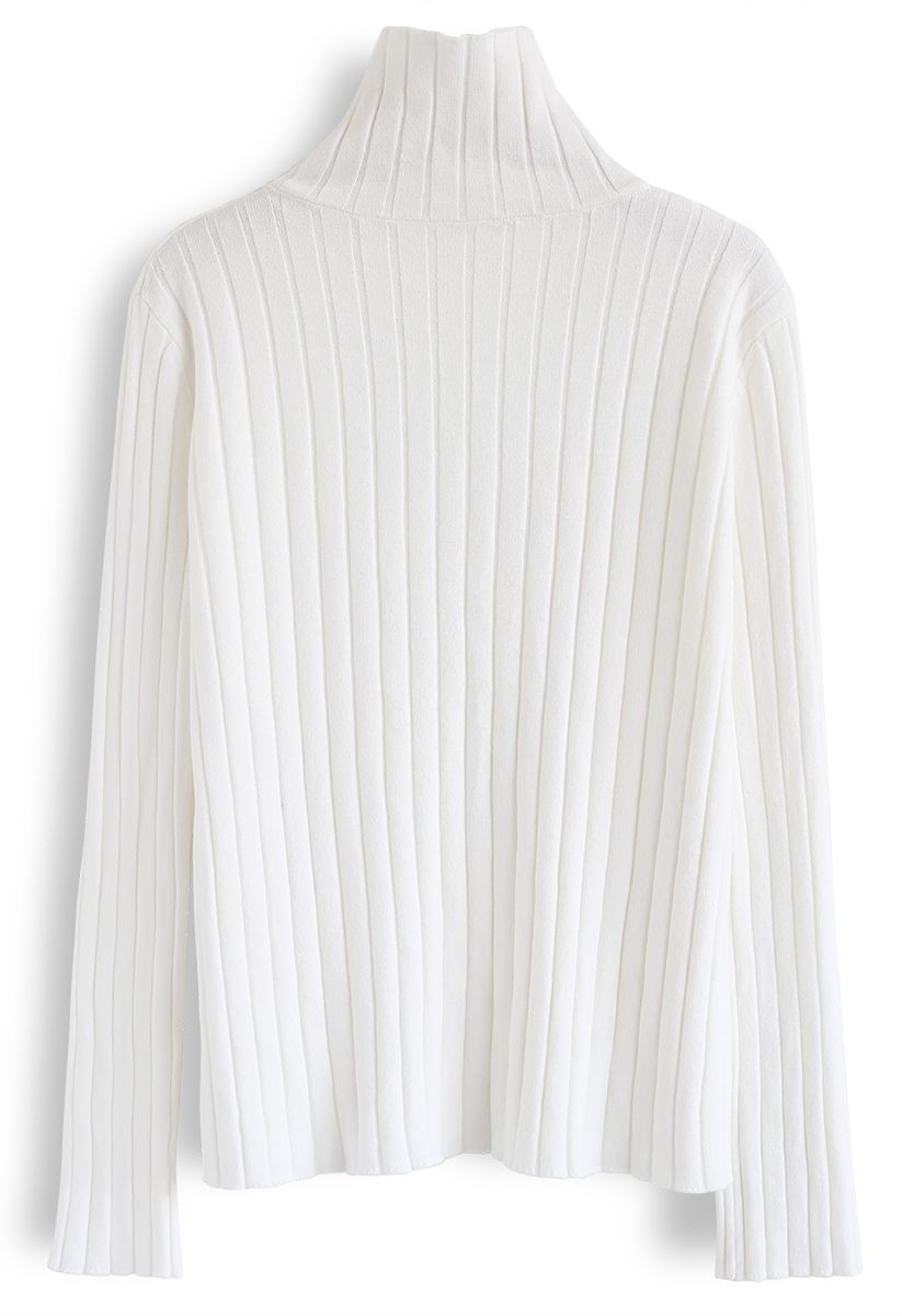 Turtleneck Sleeves Knit Sweater in White