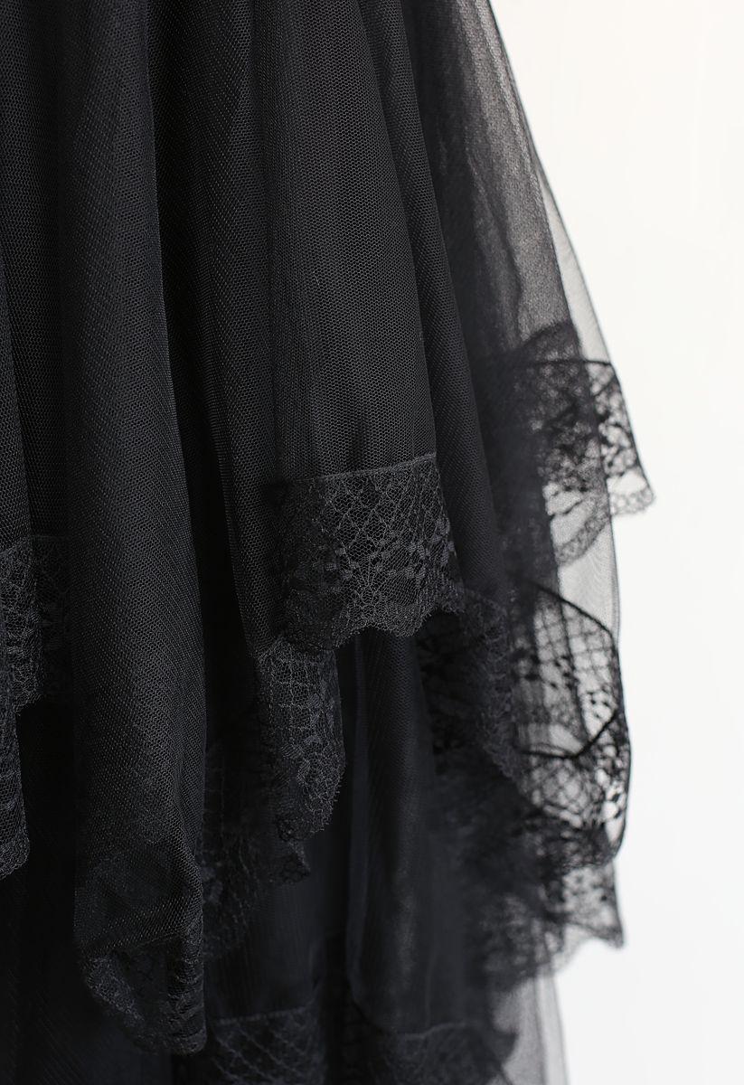 Lace Hem Asymmetric Layered Tulle Skirt in Black