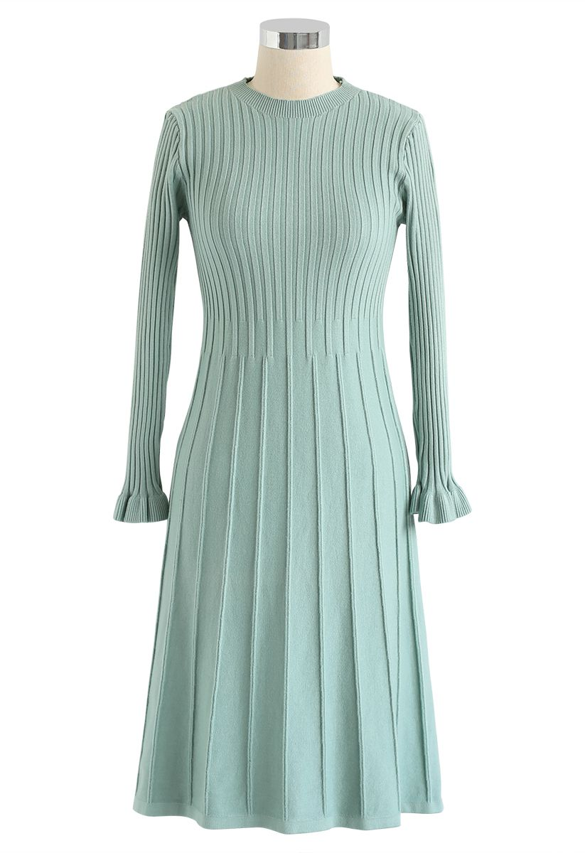 Mock Neck Pleated Knit Twinset Dress in Mint