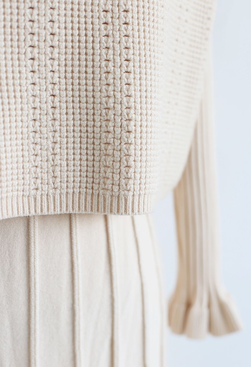 Mock Neck Pleated Knit Twinset Dress in Cream