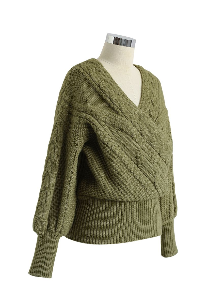 Fluffy Braid Texture Wrap Knit Sweater in Army Green