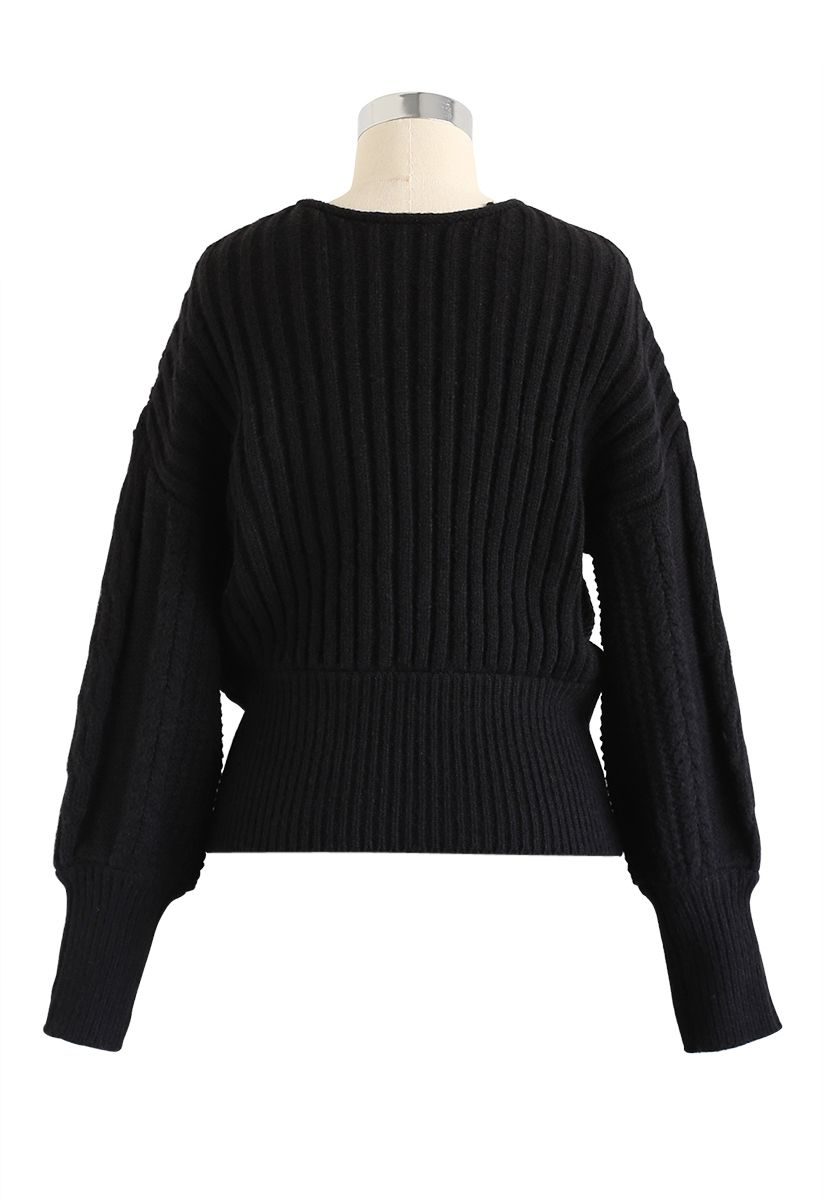 Fluffy Braid Texture Wrap Knit Sweater in Black