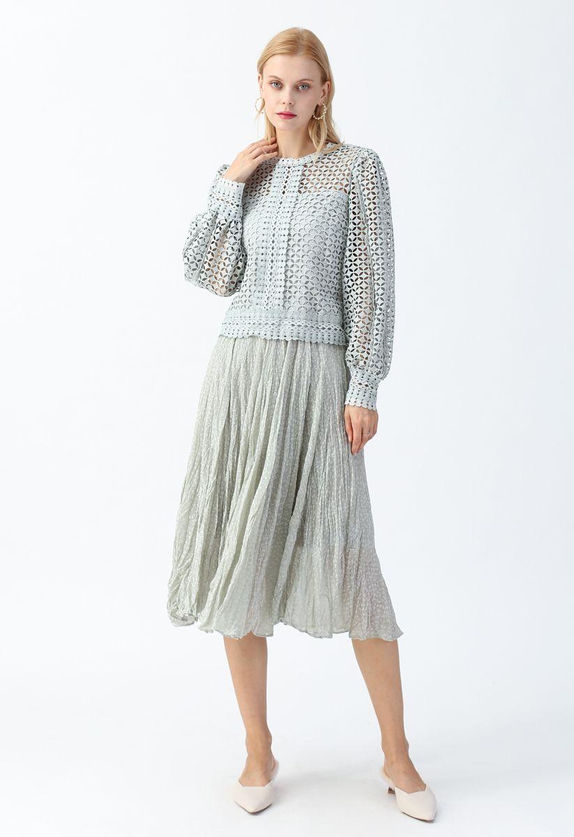 Irregular Dots Pleated Skirt in Mint