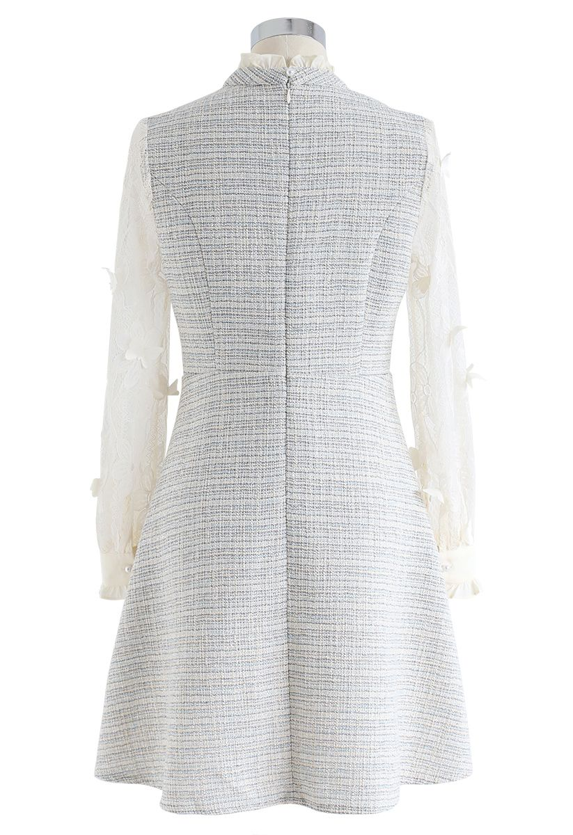 3D Butterfly Trim Lacy Sleeves Tweed Dress