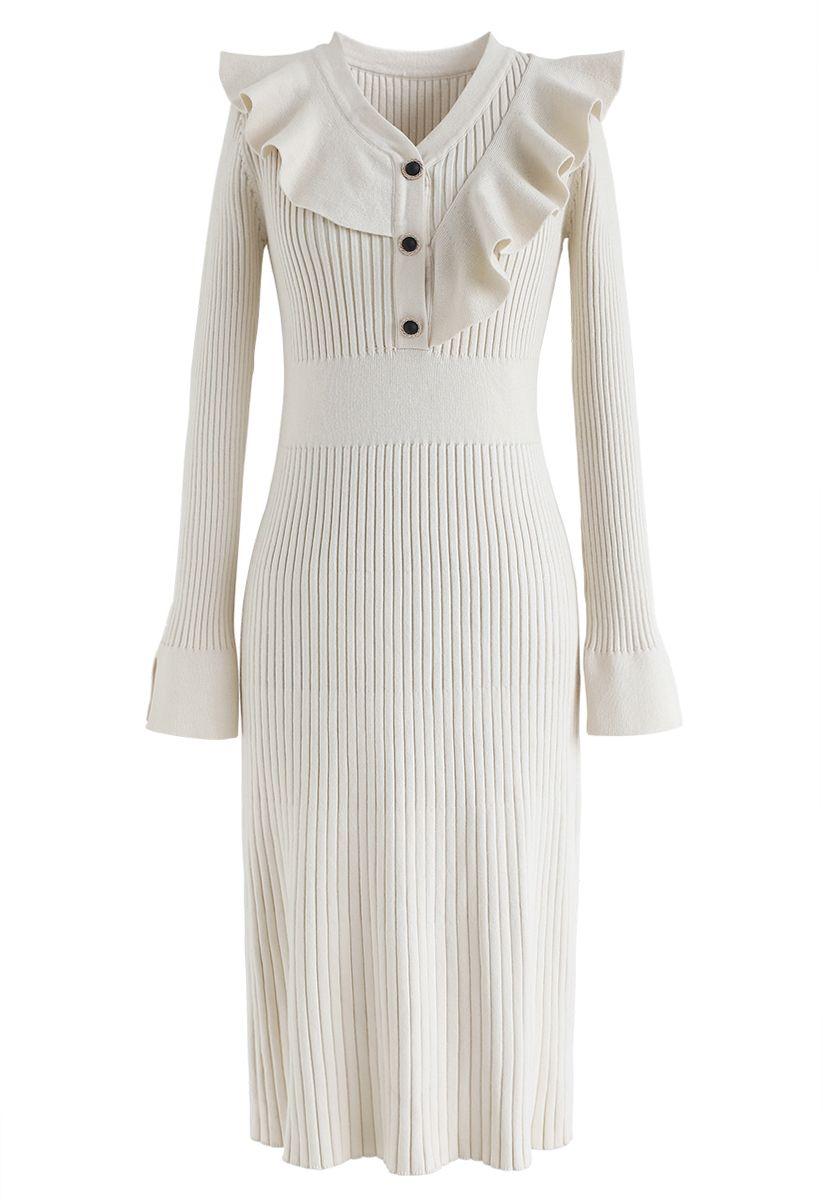 Ruffle Trim V-Neck Ribbed Knit Dress in Cream