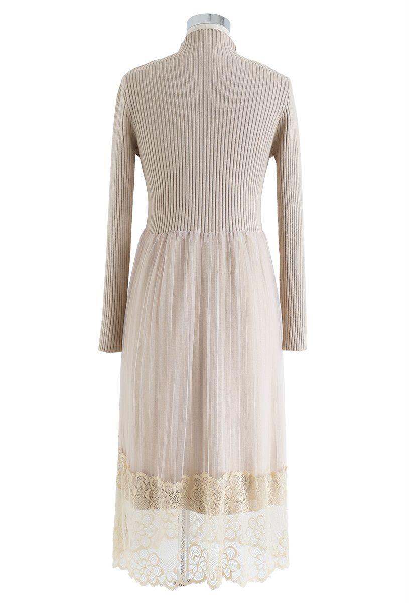Floral Lace Hem Knit Dress in Sand