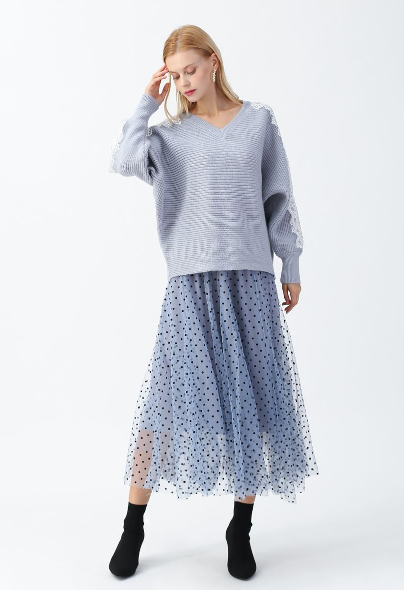 Full Polka Dots Double-Layered Mesh Tulle Skirt in Baby Blue
