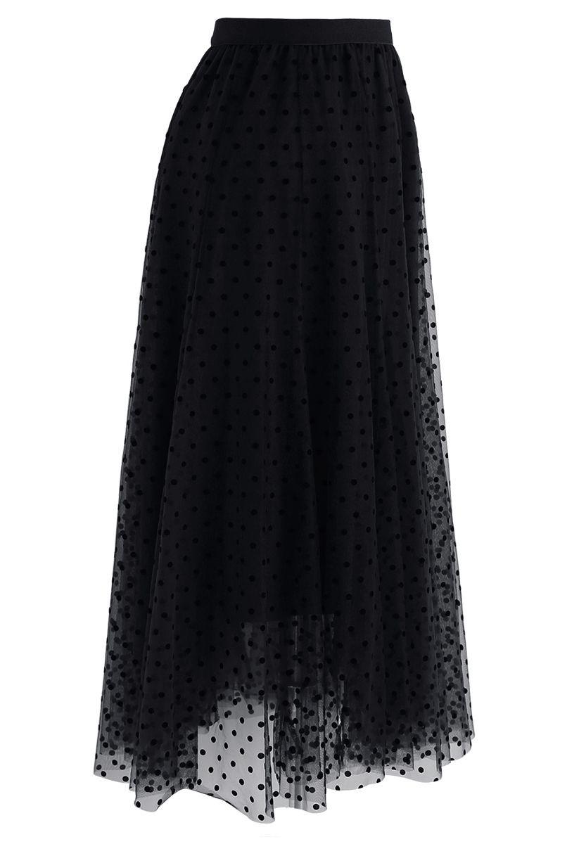 Full Polka Dots Double-Layered Mesh Tulle Skirt in Black