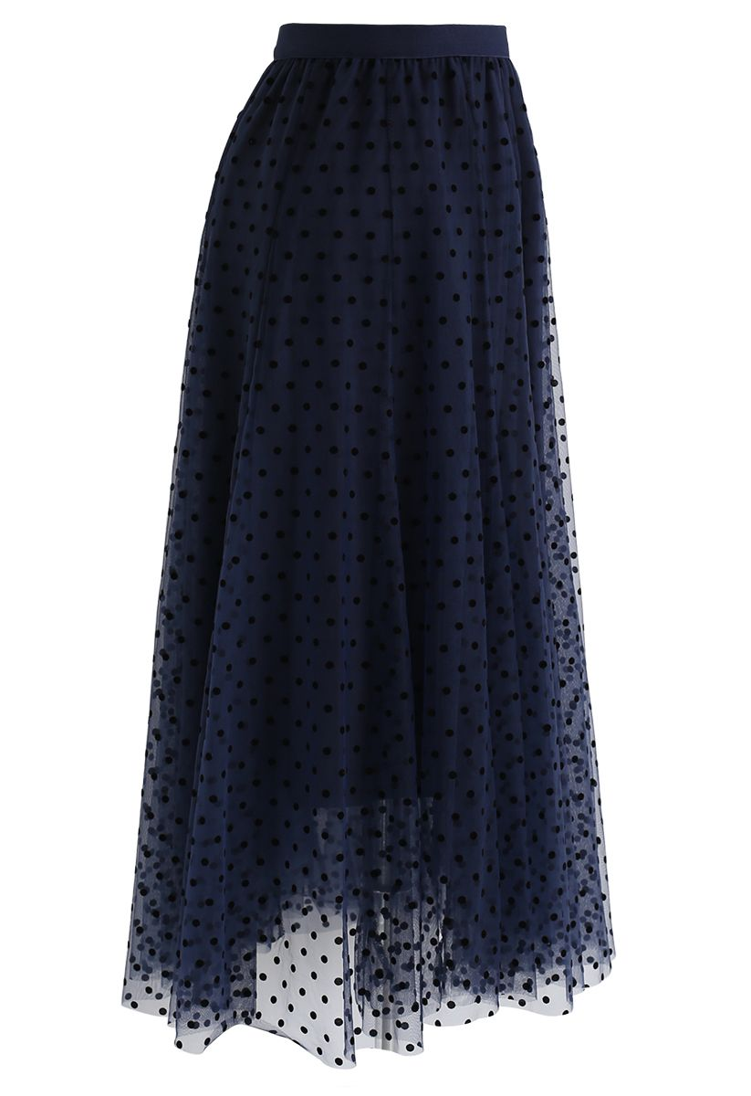 Full Polka Dots Double-Layered Mesh Tulle Skirt in Navy