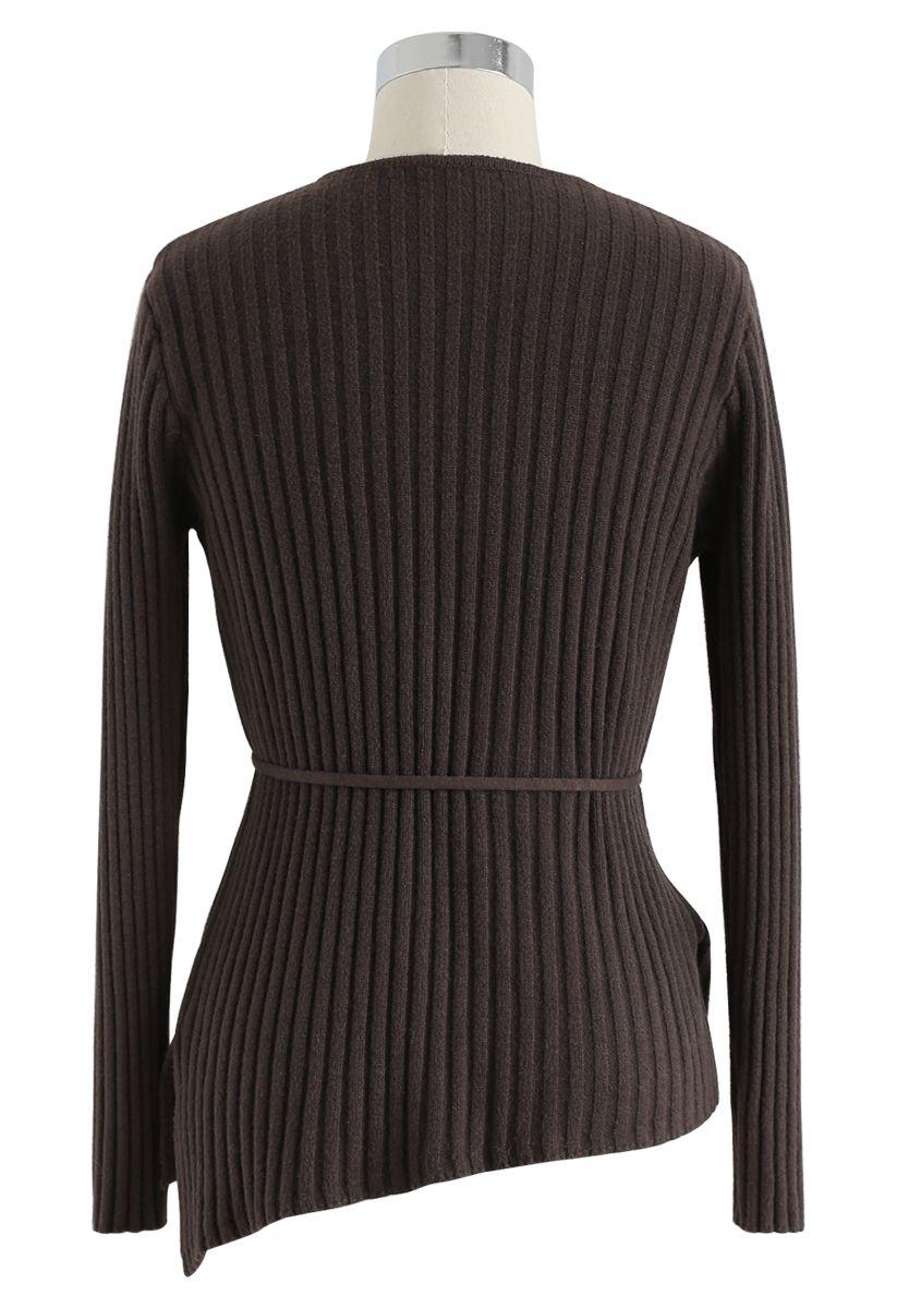 Asymmetric Slant Button Down Knit Top in Brown