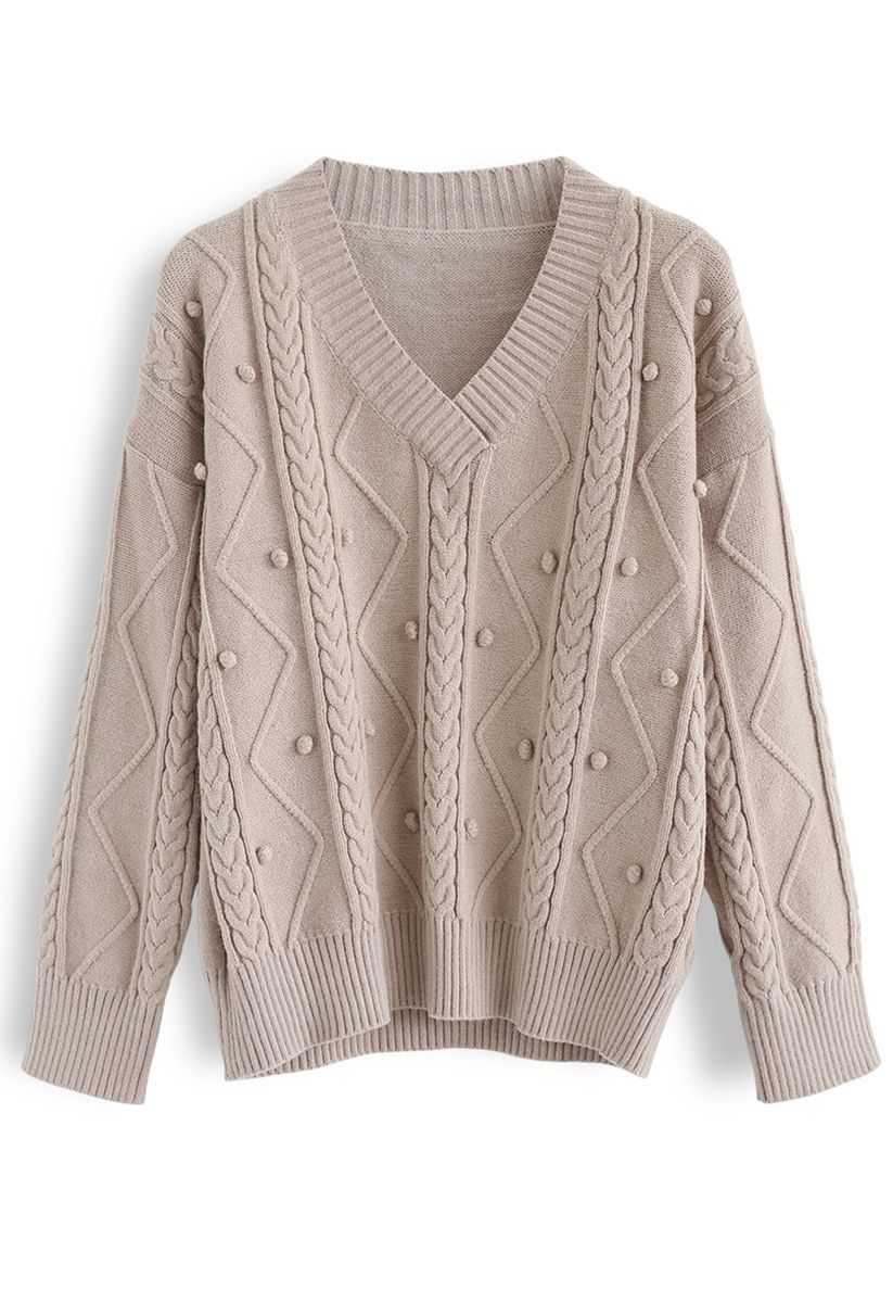 Pom-Pom Braid V-Neck Knit Sweater in Tan