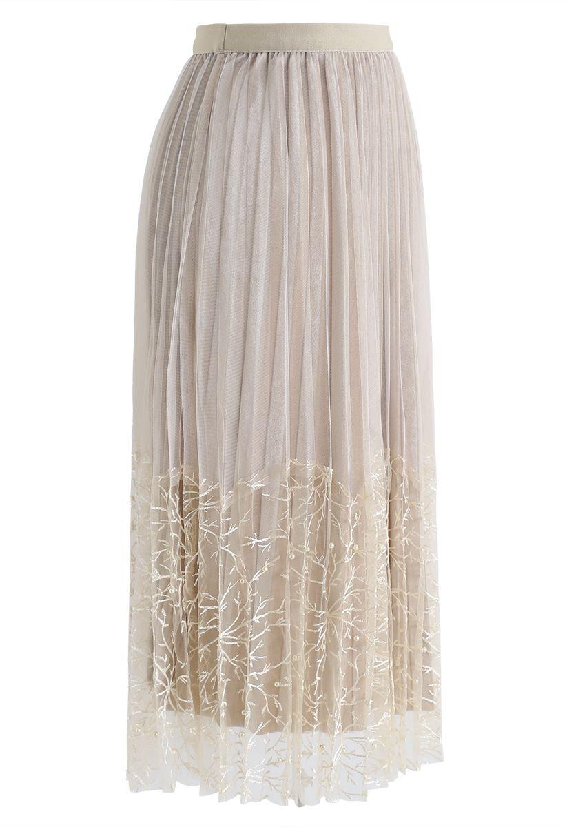 Pearls Embroidered Mesh Velvet Pleated Skirt in Cream