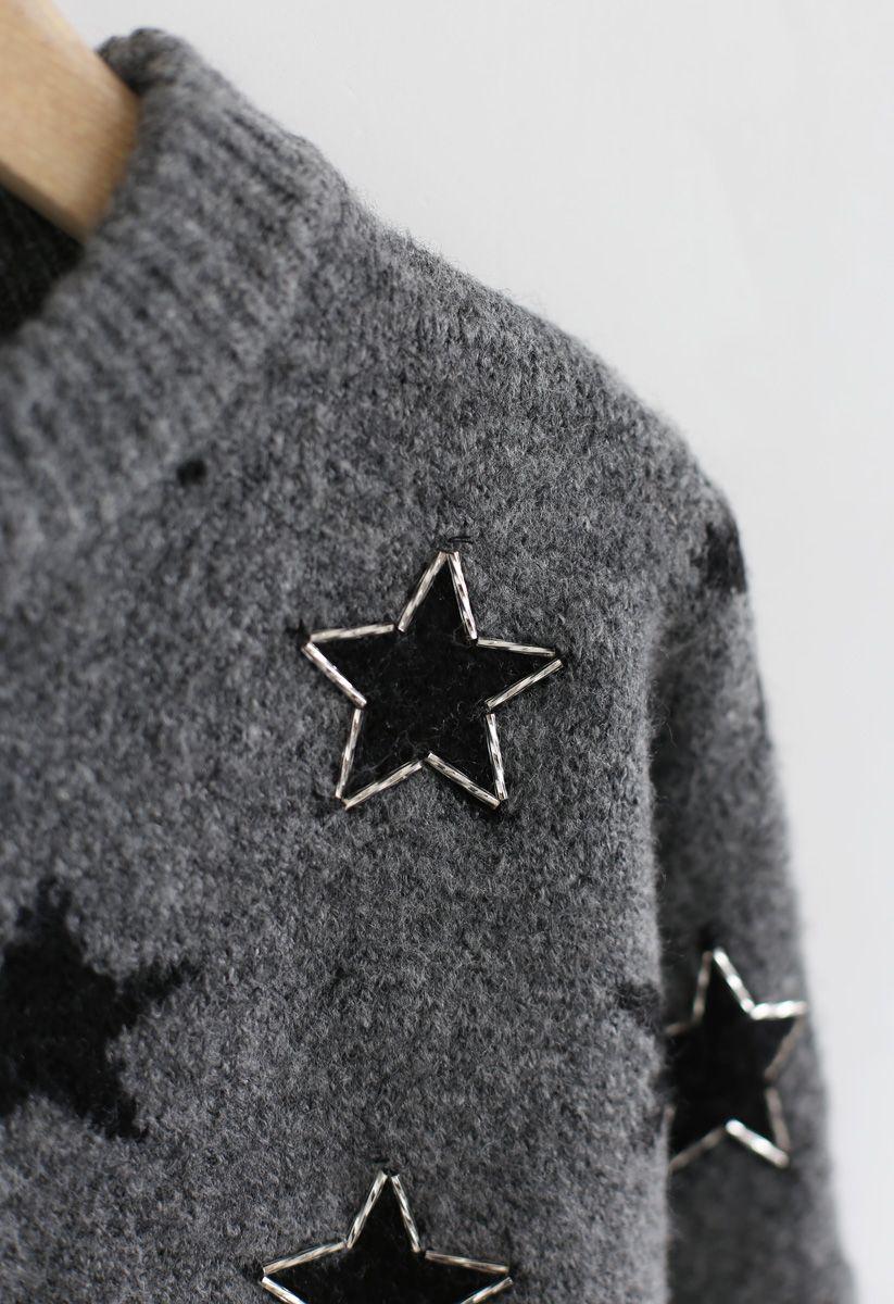 Stars Round Neck Loose Knit Sweater