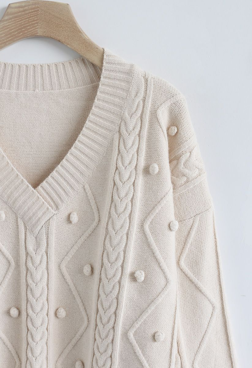 Pom-Pom Braid V-Neck Knit Sweater in Cream