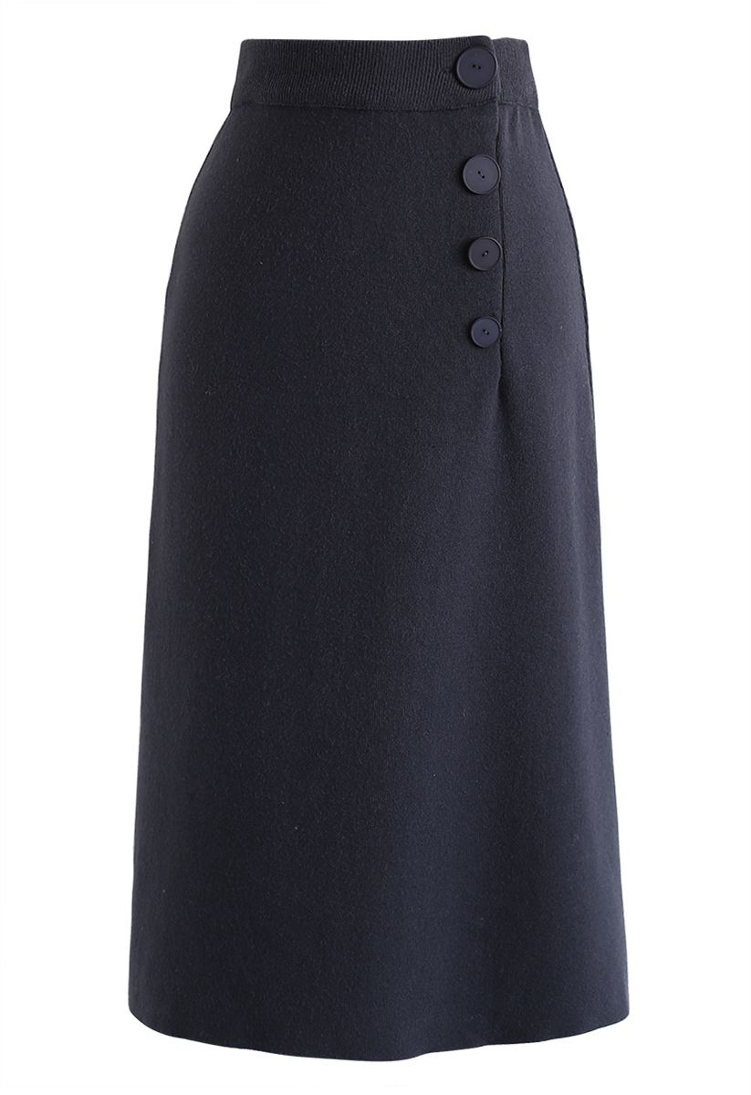 Buttoned Front Knit Midi Skirt in Navy
