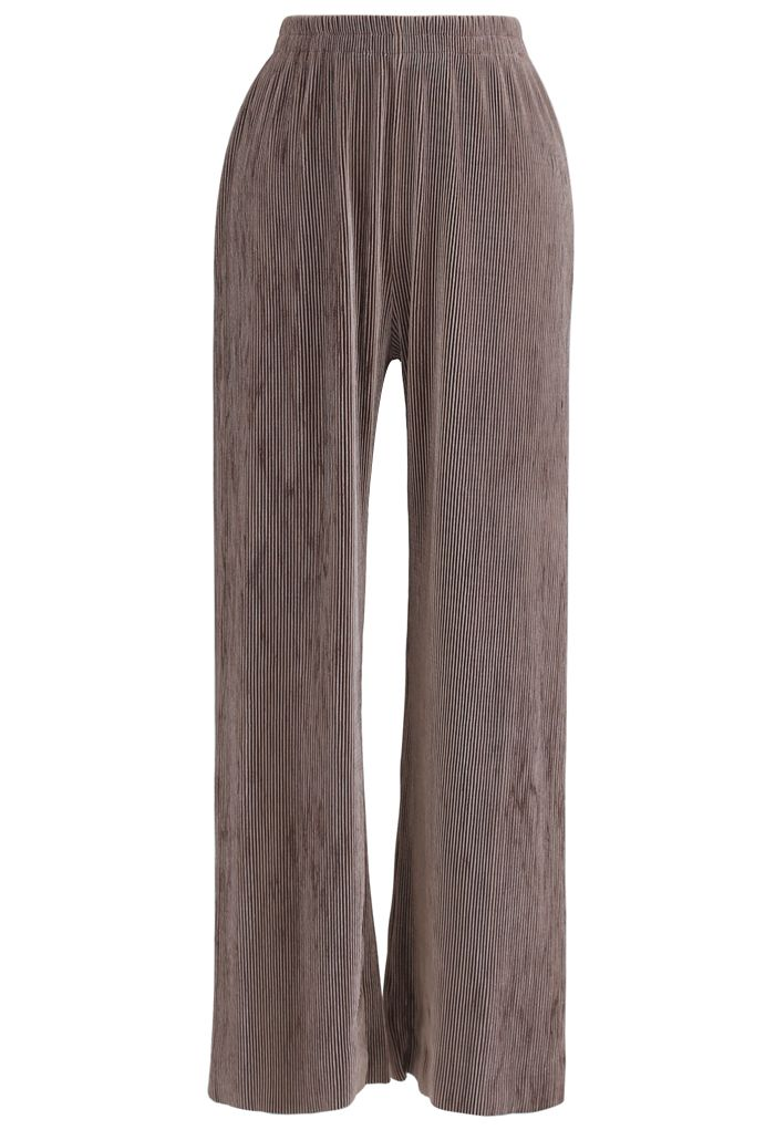 Corduroy High-Waisted Pants in Brown