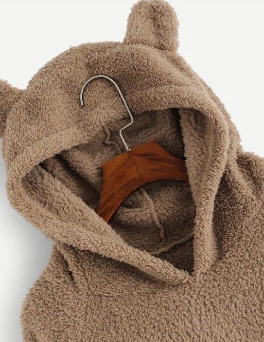 Teddy Hoodie Sweatshirt in Caramel