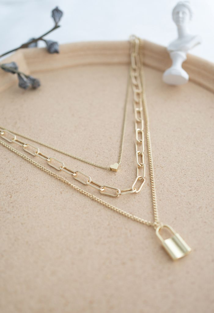 Lock Chain Pendant Layered Necklace in Gold