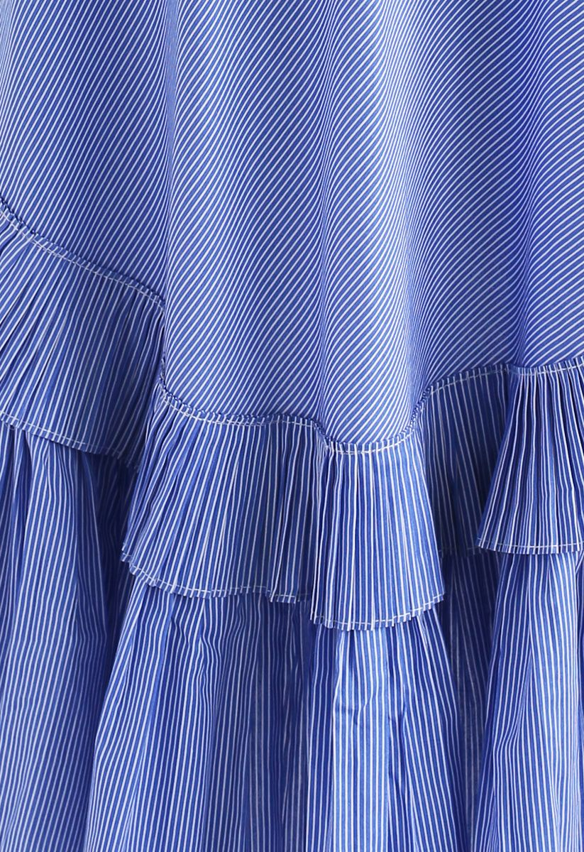 Applause of Ruffle Tiered Frill Hem Skirt in Blue Stripes