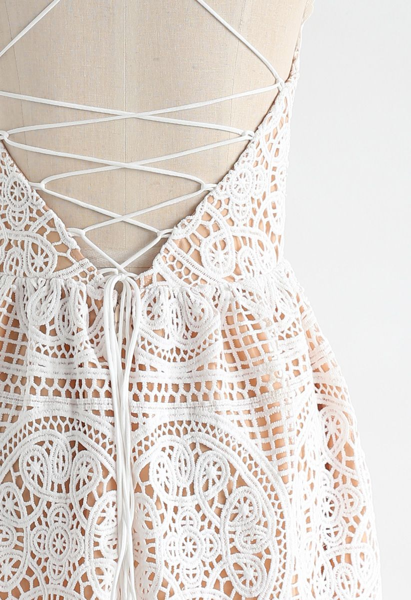 Moonlit Night Cross Back Crochet Cami Dress