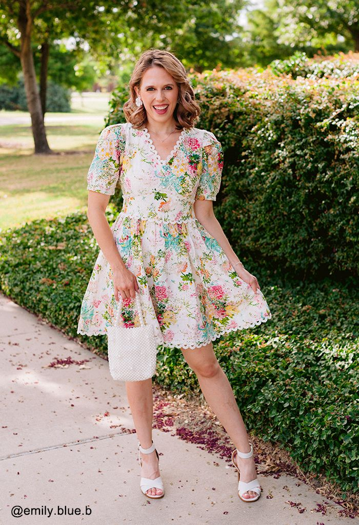 Vivid Flower Buttoned Crochet Embroidered Dress