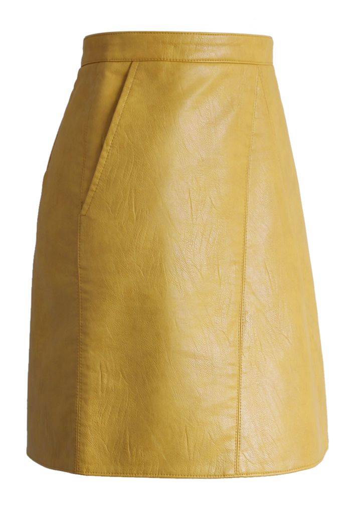 Fetching Faux Leather Skirt in Mustard