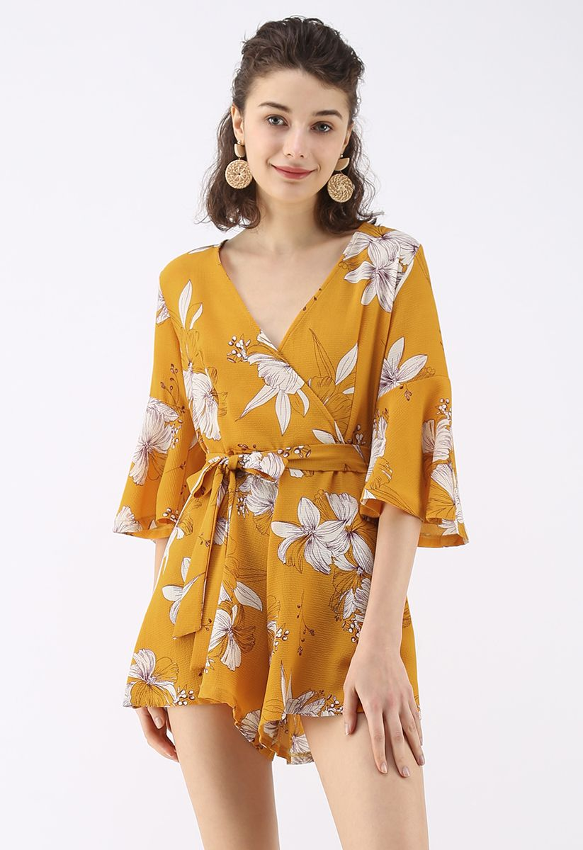 Bold Blooms Floral Wrapped Playsuit in Yellow
