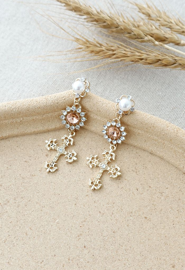 Cross Crystal and Pearl Decorated Drop Earrings