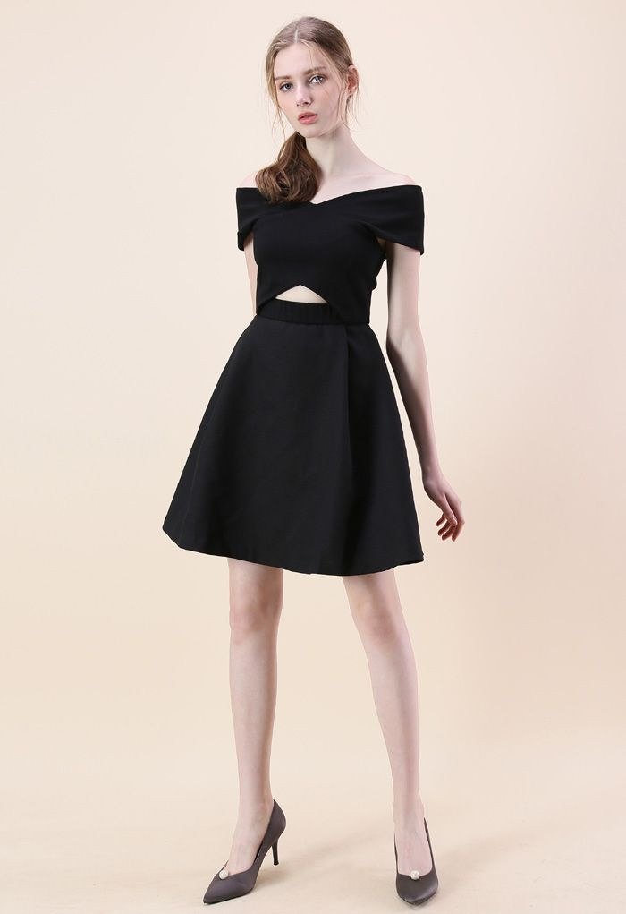 Concise Classy Off-shoulder Dress in Black