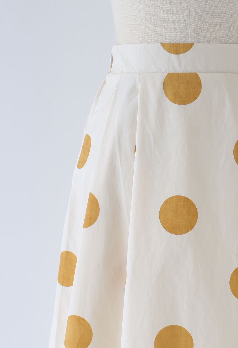 Contrast Polka Dots Print Midi Skirt in Light Yellow