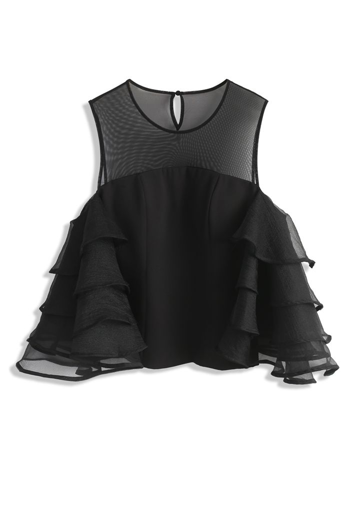 Cheery Black Cold-shoulder Top with Tiered Sleeves