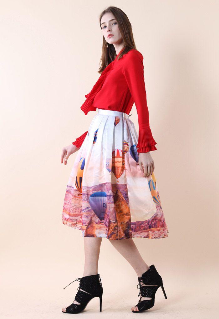 Hot Air Balloon Festival Print Midi Skirt