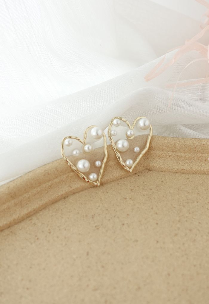 Pearl Trimmed Heart Earrings